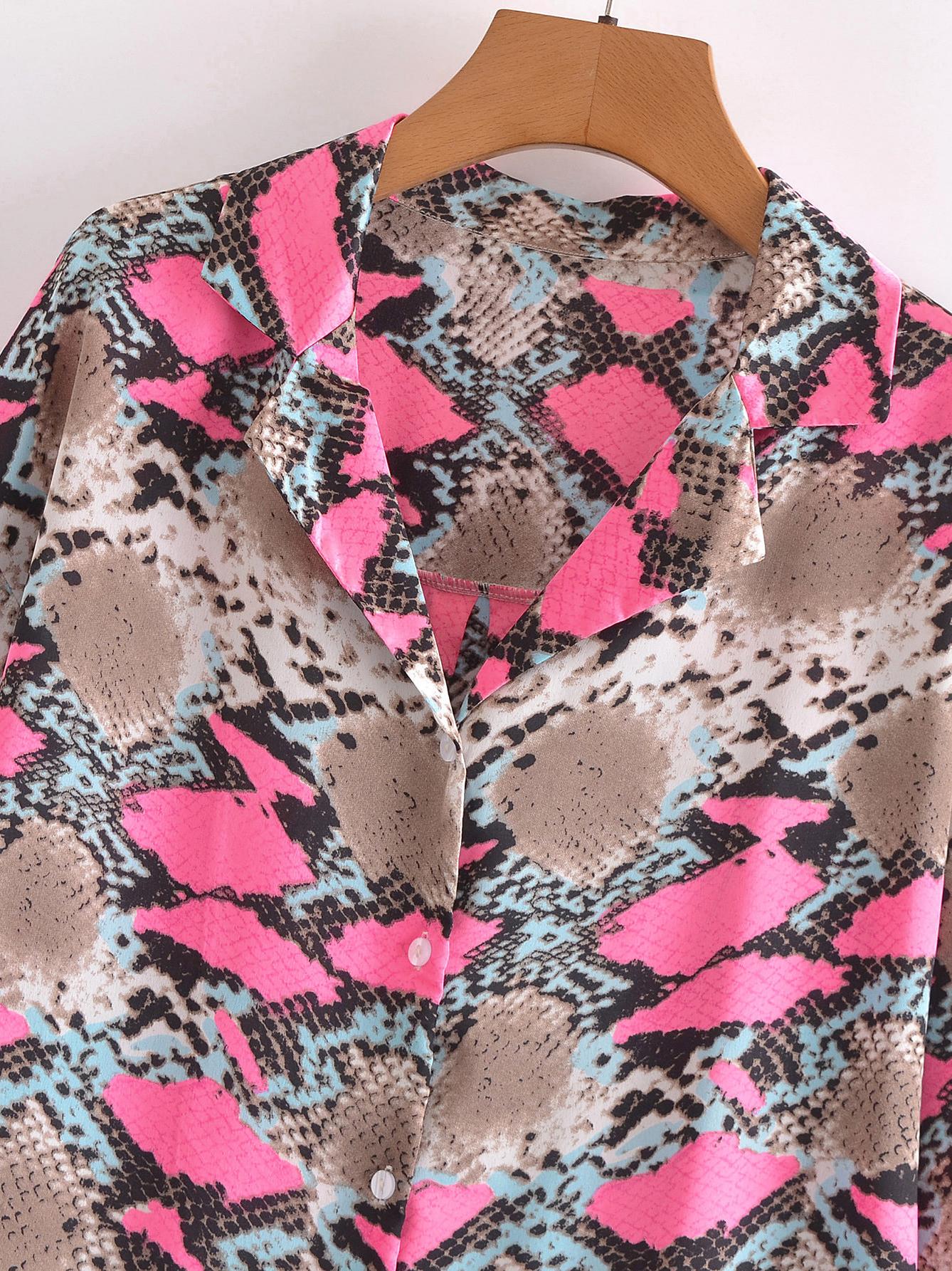 Stylish Snake Print Long Sleeve Loose Women Blouse