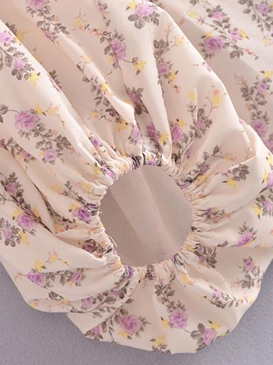 Elegant Tie-Wrap Backless Puff Sleeve Blouse