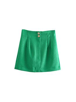 New Plain Green Textured Two Buttons Women Skirt