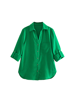 Youthful Pure Green Button Up Summer Blouse