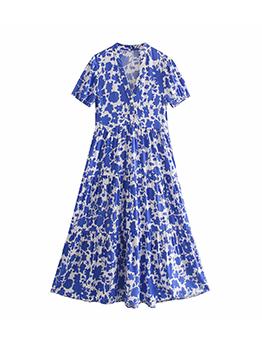 Beautiful Blue Print Short Sleeve Maxi Dress