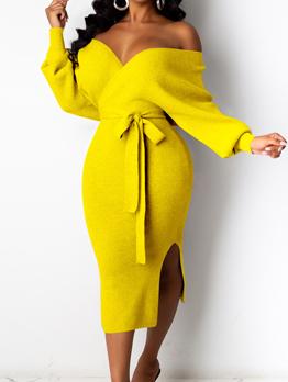 Sexy Solid Long Sleeve Maxi Dress Women