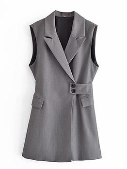 New Plain Gray Vest Sleeveless Long Blazers