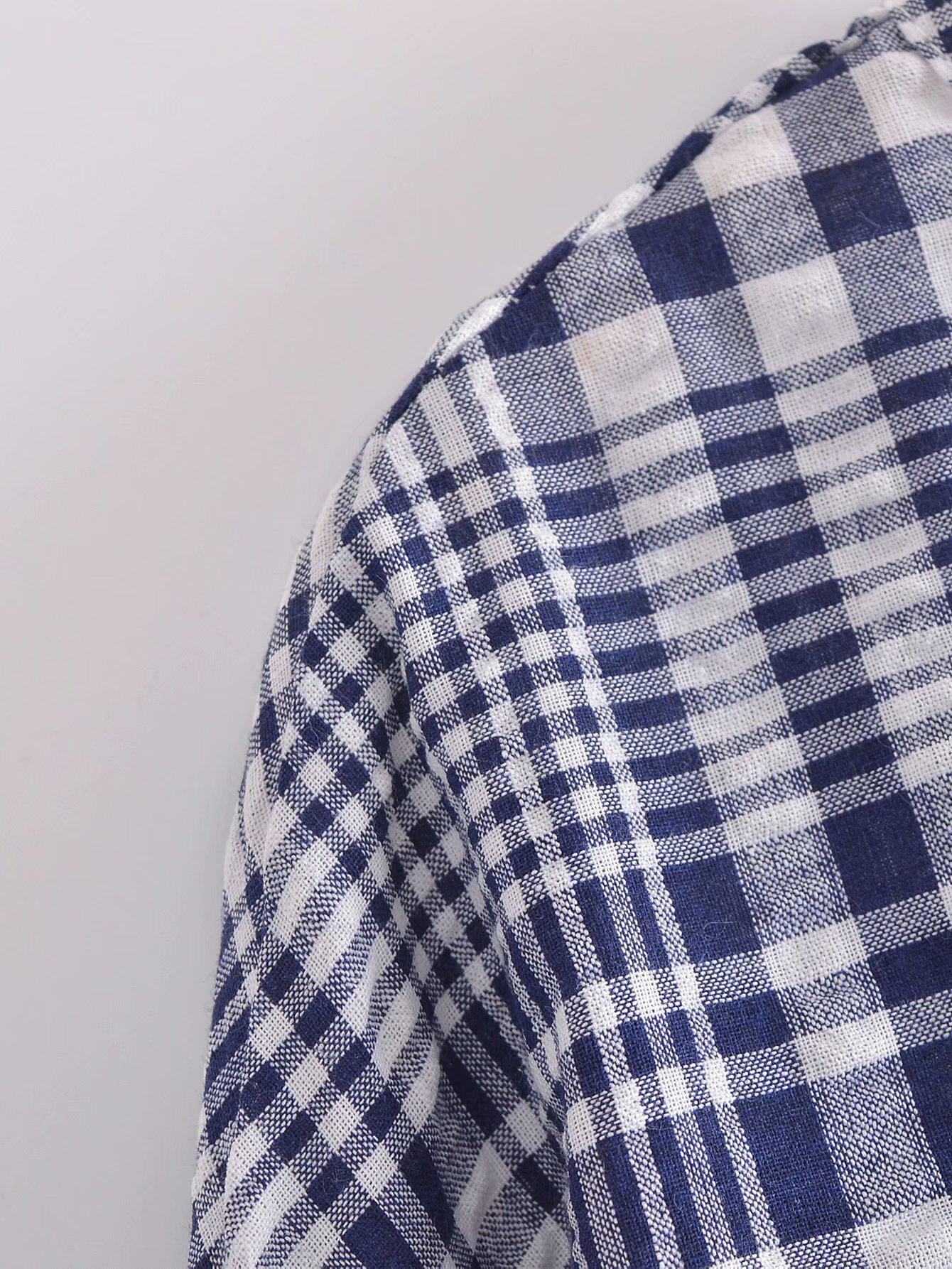 Characteristic Contrast Color Plaid Tie-Wrap Blouse