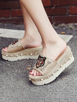 Rhinestone Vintage Wedge Slippers For Women