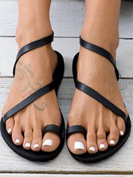 Retro Roman Style Solid Plain Flats Sandals Women