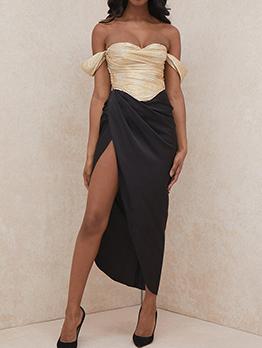 Tempting Off Shoulder Patchwork Slit Evening Dresses