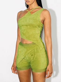 Solid Irregular Tank Top And Short Pants Set Summer