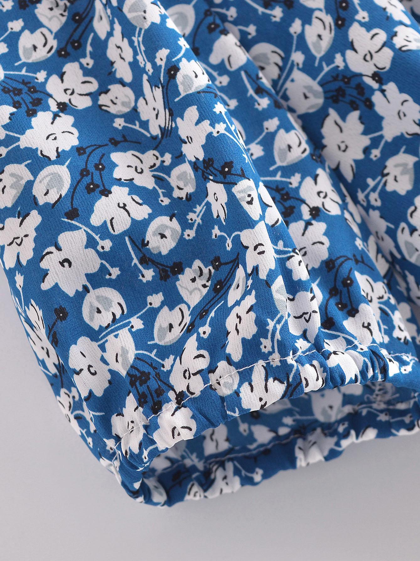 Summer Floral Ruched V Neck Blouse For Women