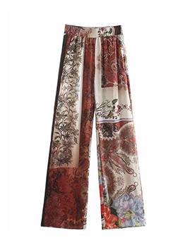 Summer Printed Vintage Loose Long Pant For Women