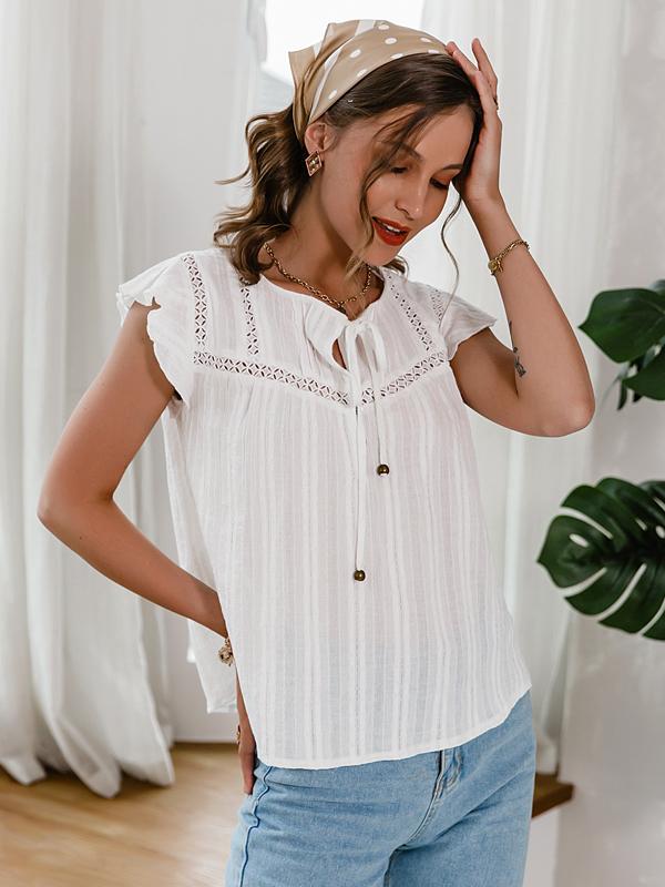 Korean Style Plain White Summer Blouse