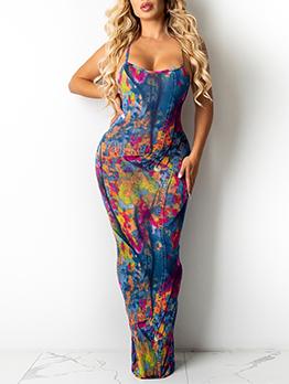 New Tie Dye Bodycon Maxi Dress