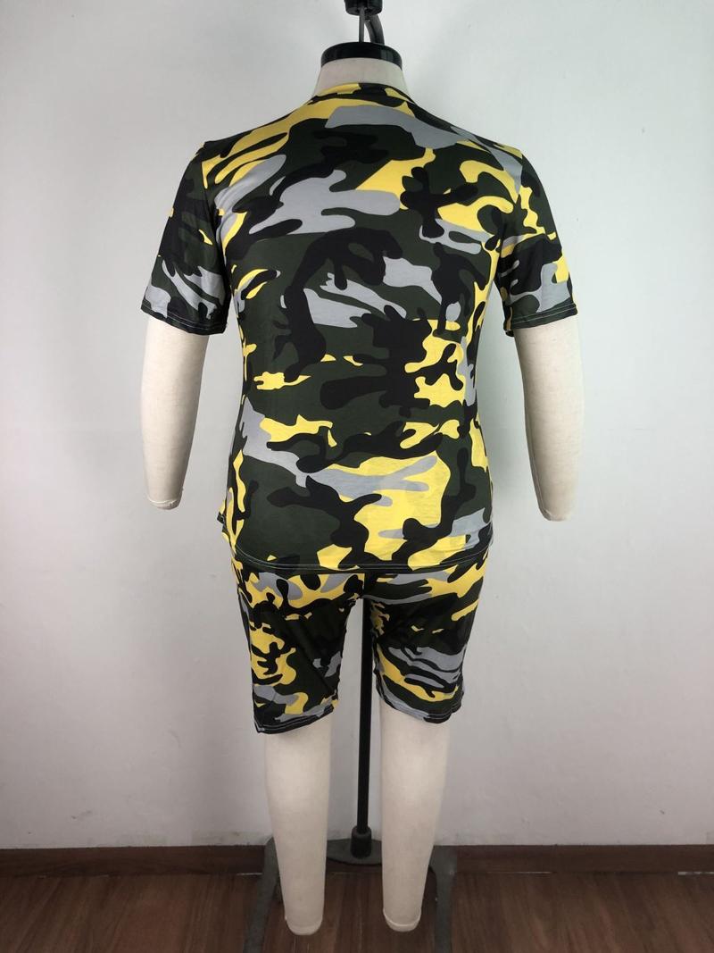 Letter Camouflage Print Plus Size Two Piece Sets