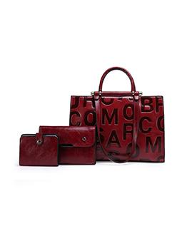 Vintage Elegant Letter Embossing 3 Piece Handbag Sets