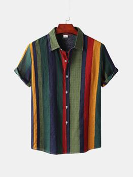 Summer Contrast Color Shirts For Men
