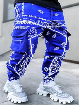 Chic Print Hip Pocket Hop Harem Pants