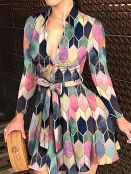 Geometry Printing Fashion Long Sleeve Dresses