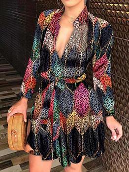 Sexy V Neck Fashion Print Long Sleeve Dress