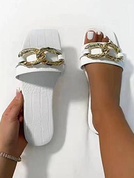 Alligator Printed Metal Circle Patch Women Slide Slippers