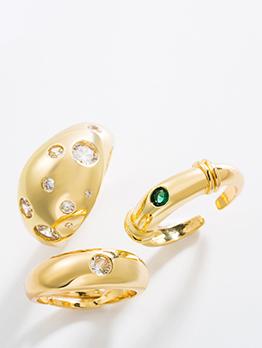 Trendy Punk Copper Inlay Zircon Geometry Ring