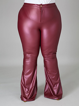 Plus Size Solid PU Flare Pants