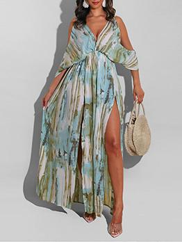 Seductive V Neck Cold Shoulder Slit Maxi Dress