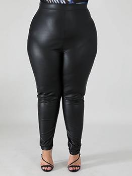 Fashion PU High Waist Plus Size Pants