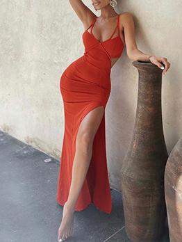 Solid Elegant V Neck High Slit Camisole Maxi Dresses