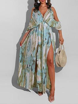 Casual V Neck Plus Size Maxi Dress