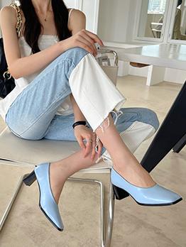 New Contrast Color Heels Flats