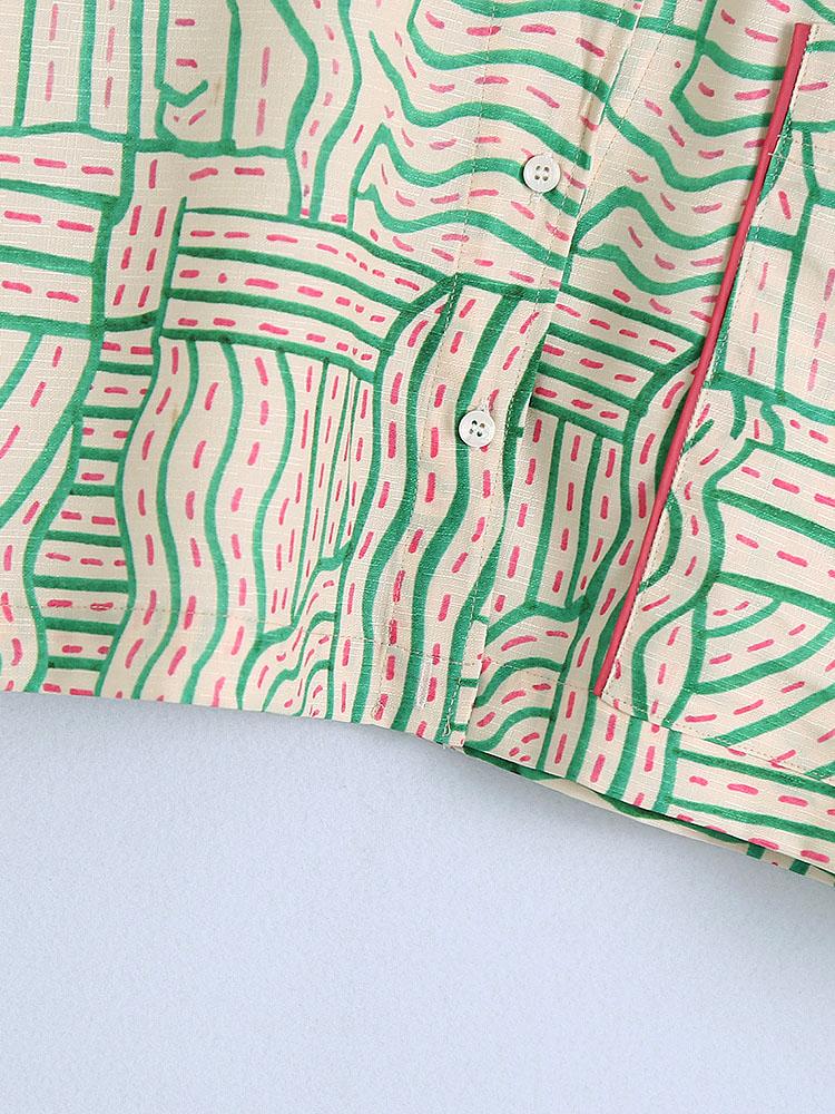 Leisure Notch Collar Pocket Printed Loose Women Blouse