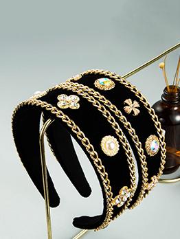 Vintage Black Sponge Women Faux-Pearl Hair Hoop