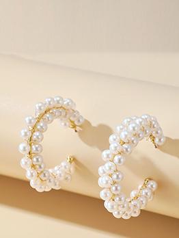Plain Full Faux-Pearl C-Shape Stud Earrings