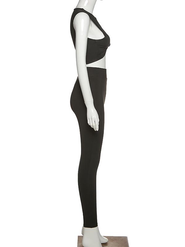 Sexy Deep V Neck Women Trouser Set