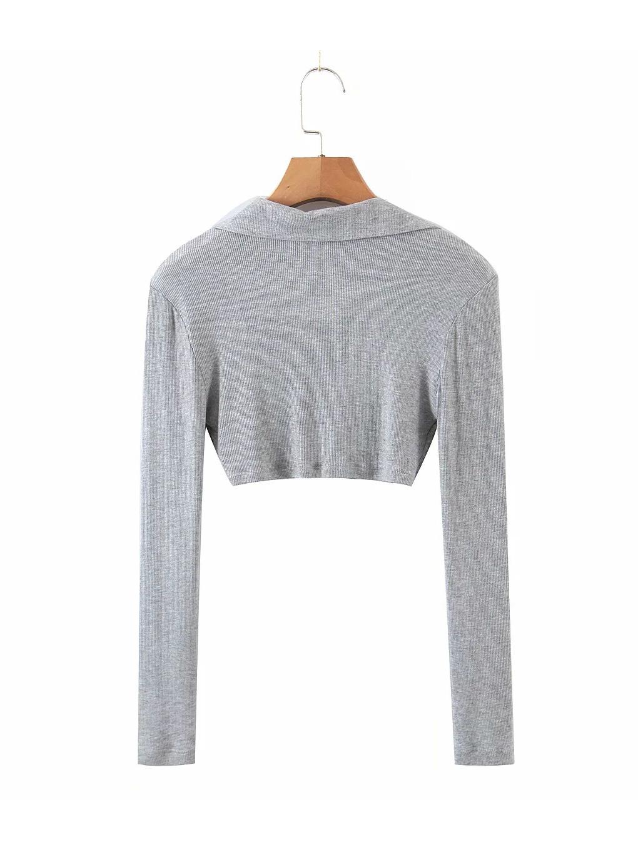 Seductive Solid V Neck Long Sleeve Blouse