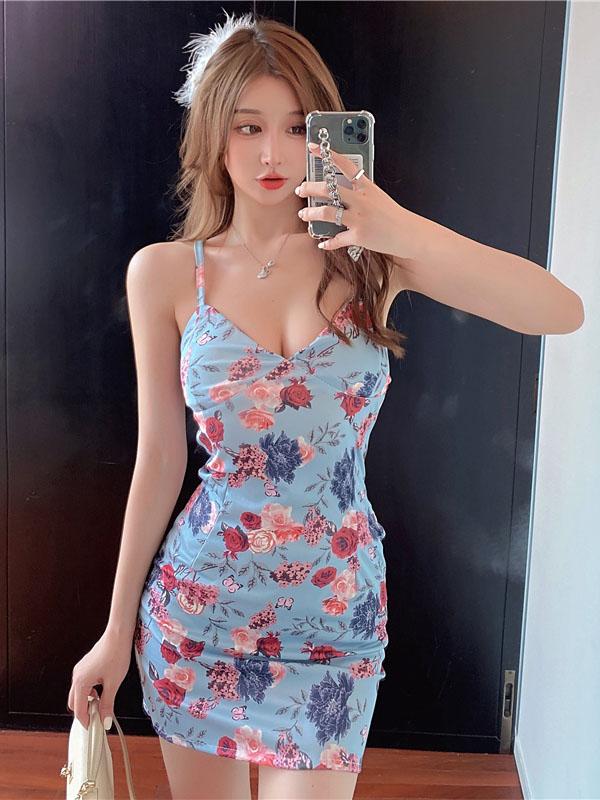 V Neck Fashion Print Sexy Camisole Sheath Dresses