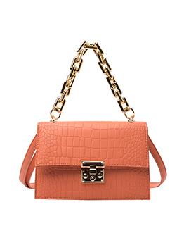 Simple Crocodile Print Thick Chain Shoulder Bags