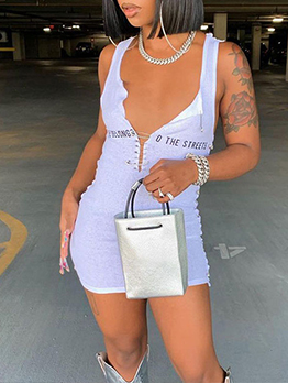 Sexy Hollow Out Letter Printed Sleeve Mini Dress