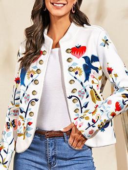 Fashion Printed White Versatile Cardigan Short Coat