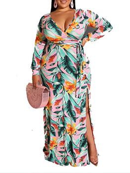 Plus Size V Neck Long Sleeve Dress