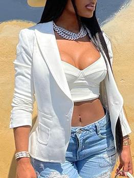 Modern Solid Single-Breasted Long Sleeve Blazers
