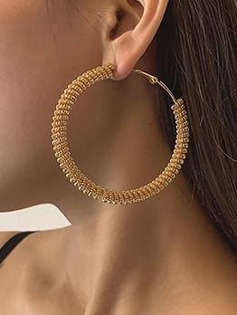 Temperament Metal Geometry Round Shape Earrings