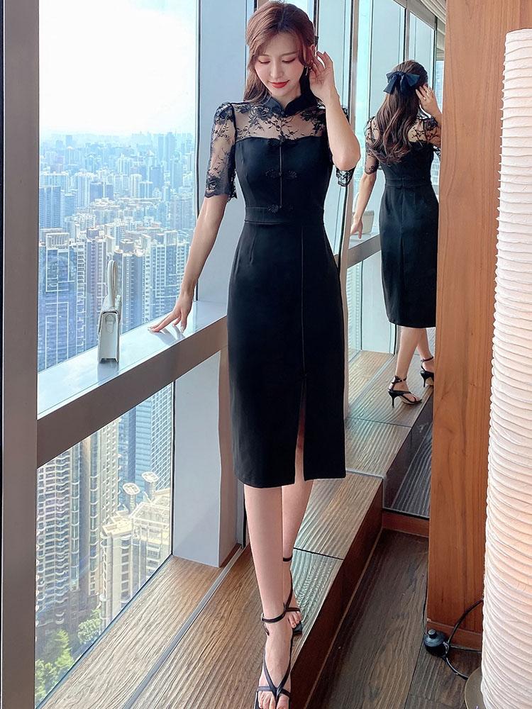 Sweet Gauze Patchwork Cheongsam Style Midi Dress