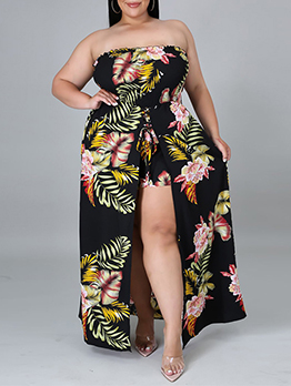 Sexy Off Shoulder Printed Strapless Jumpsuits