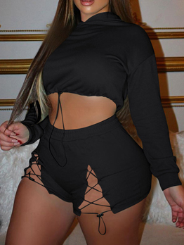 Pure Hooded Two Piece Short Sets