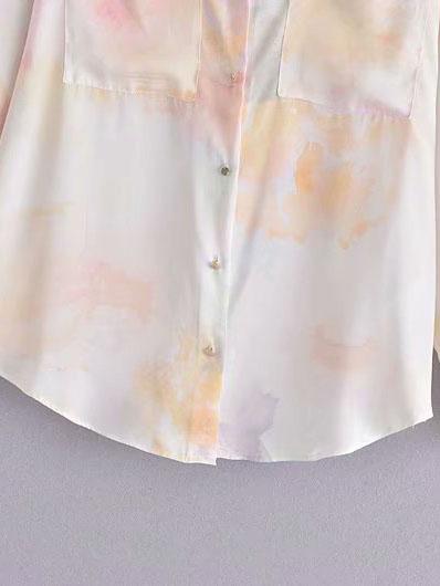 Special Tie Dye Design Long Sleeve Blouse