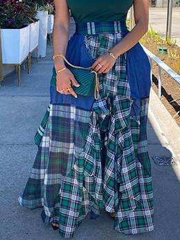 Irregular Plaid Patchwork Loose Plus Size Skirt