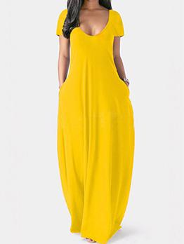 Plus Size Solid V Neck Short Sleeve Maxi Dresses