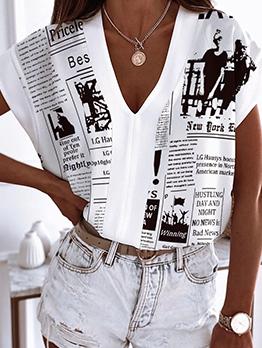 Funny Paper Print V Neck Women Blouse