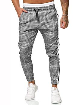 Casual Plaid Striped Mid Waist Men Long Pants